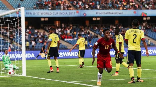 Sadiq Ibrahim scored in the 39th minute as Ghana beat Colombia 1-0 in their opening game of the FIFA U-17 World Cup on Friday.(Twitter/ Scouted Football‏)