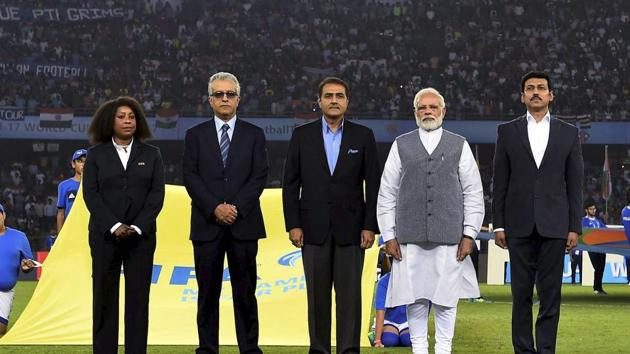 ndia's Prime Minister Narendra Modi was present for the team's opening game versus United States of America in the FIFA U-17 World Cup in New Delhi.(PTI)