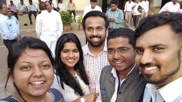 'Team Vidhi', as they call themselves, consists of four law students, Bhushan Raut, Chaitanya Shendage and Kaamini Suhas from Indian Law Society's (ILS) Law College, and Kalyani Mangave from MMM Shankarrao Chavan Law College.(HT PHOTO)