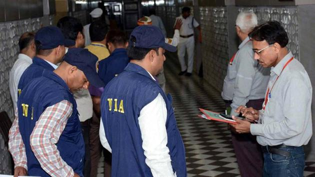 NIA teams inspect the UP assembly in July. Currently, only NIA has concurrent jurisdiction over cases of suspected terrorism automatically.(HT file photo)