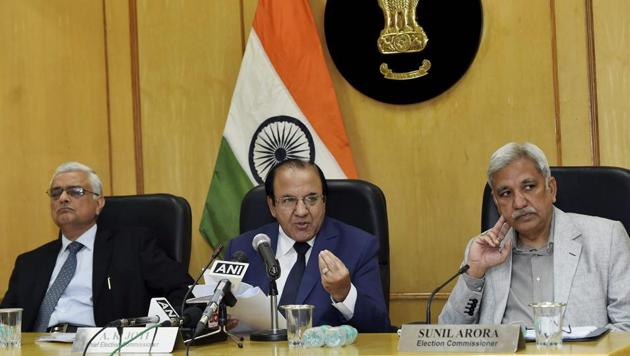 Chief Election Commissioner A K Joti, flanked by, Election Commissioners Sunil Arora and O P Rawat (L) announces the schedule for the Himachal Pradesh Assembly elections, at a press conference in New Delhi on Thursday.(PTI Photo)