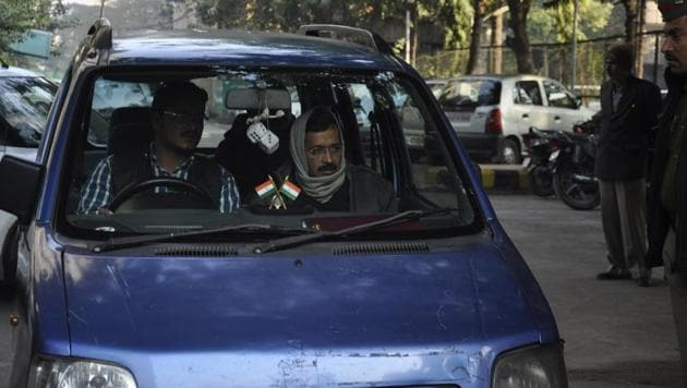 Delhi chief ministar Arvind Kejriwal in his blue WagonR car in January 2013 in Ghaziabad.(Sakib Ali/HT File Photo)