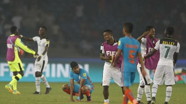 India were thrashed 0-4 by Ghana in their last league game of the FIFA U-17 World Cup and the coach has called for more international exposure for the players.(AP)