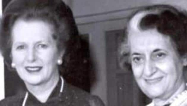 File photo of former British prime minister Margaret Thatcher with former prime minister Indira Gandhi.(HT Photo)