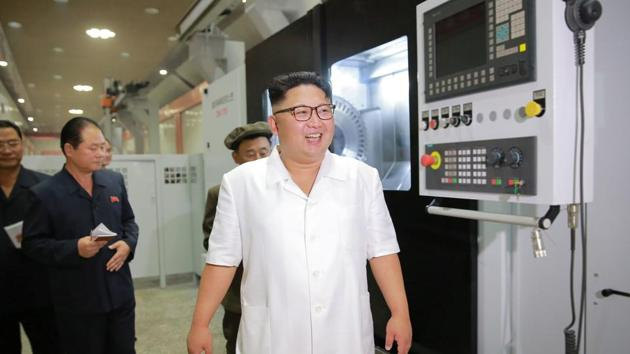 North Korean leader Kim Jong-Un inspects the January 18 General Machine Plant in Pyongyang, North Korea in this undated photo released by North Korea's Korean Central News Agency (KCNA) on August 10, 2016.(REUTERS)
