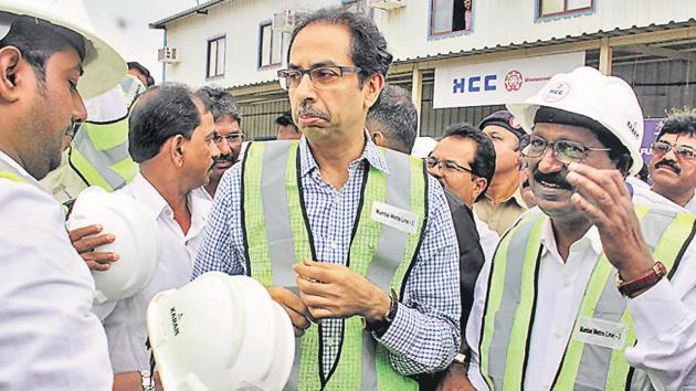 Shiv Sena chief Uddhav Thackeray inspects Metro work in Mumbai on Wednesday.(Bhushan Koyande/HT)
