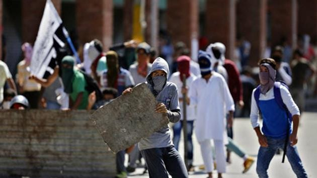 File photograph of a protest in Srinagar.(AP)