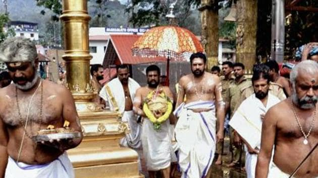 Females between the age of 10 and 50, when they are likely to be menstruating, are banned from the Sabarimala temple.(PTI file photo)