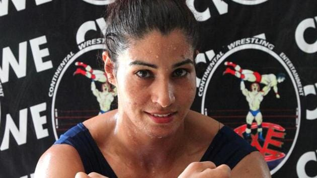 Kavita Devi has the distinction of being the first Indian woman to compete in a WWE ring, as she was a featured participant in the Mae Young Classic women's tournament.(Anil Dayal / Hindustan Times)