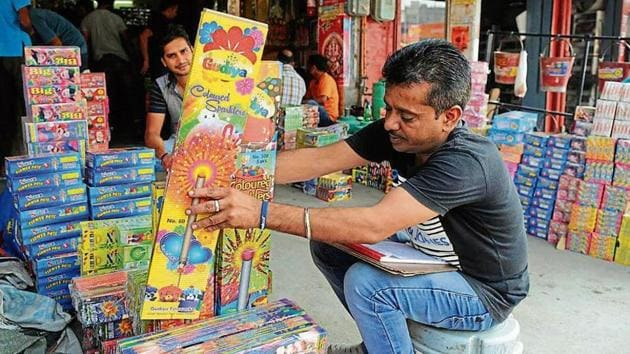 Though famous for its crackers at wholesale rates, the Kurali market has never been well regulated.(Anil Dayal/HT)