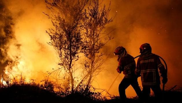 Firefighters work to extinguish flames from a forest fire in Cabanoes near Lousa, Portugal, October 16, 2017.(REUTERS)