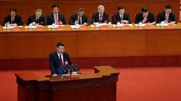 <p>Chinese President Xi Jinping delivers his speech opening the 19th National Congress of the Communist Party of China, a twice-a-decade, week-long, mostly...