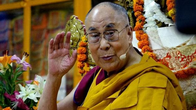 Tibetan spiritual leader the Dalai Lama at a press conference in Imphal on Wednesday called for making the world a cohesive entity akin to the EU.(HT File Photo)