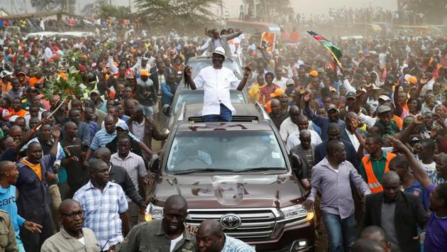 <p>Kenyan opposition leader Raila Odinga, the presidential candidate of the National Super Alliance (NASA) coalition, arrives for a political rally at the...