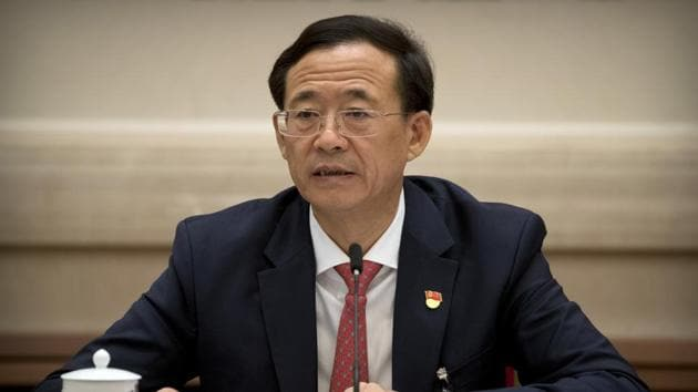 In this photo from October 19, 2017, Liu Shiyu, chairman of the China Securities Regulatory Commission, speaks during a discussion group meeting held on the sidelines of the 19th Communist Party congress at the Great Hall of the People in Beijing. Liu accused the former party secretary of Chongqing, Sun Zhengcai, of plotting a coup against the party leadership in the clearest explanation yet of the abrupt firing of the former rising star.(AP)