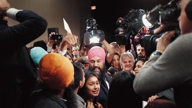 Jagmeet Singh celebrating with supporters after being elected the new leader of the federal New Democratic Party or NDP.(Photo courtesy Jagmeet Singh's campaign)