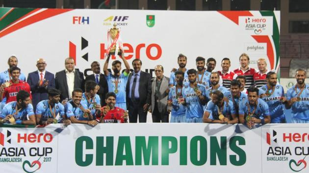 <p>India hockey team celebrates its Asia Cup win after defeating Malaysia in the final.</p> (Hockey India)