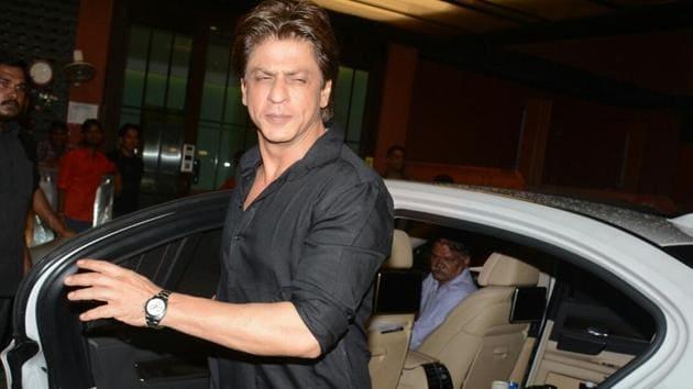 Actor Shah Rukh Khan at Arpita Khan's residence for Pre-Diwali celebration in Mumbai.(IANS)