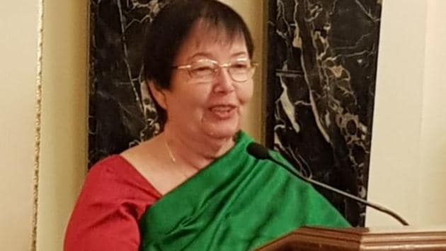 Anita Bose-Pfaff delivers a lecture on 70 years of India's independence in London on Monday.(HT Photo)