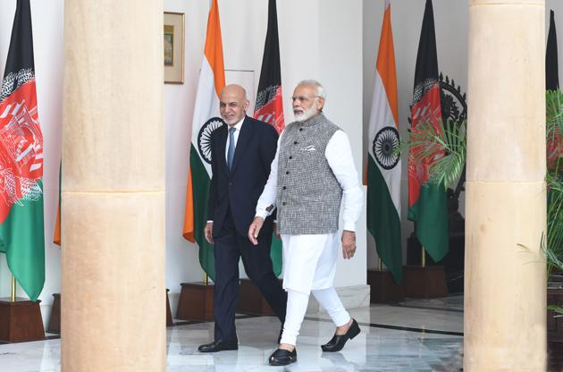 Prime Minister Narendra Modi with Afghanistan President Dr Mohammad Ashraf Ghani at Hyderabad House in New Delhi on October 24, 2017. (Photo by Mohd Zakir/ Hindustan Times)(Mohd Zakir/HT PHOTO)
