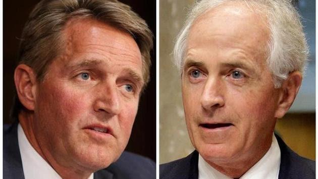 A combination photo of Republican senators Jeff Flake (left) of Arizona and Bob Corker of Tennessee.(Reuters)