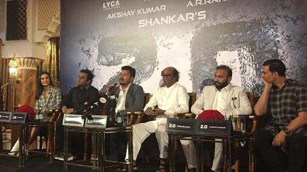 Rajinikanth, AR Rahman, Akshay Kumar and Amy Jackson before the press conference for audio launch in Dubai.(Twitter)