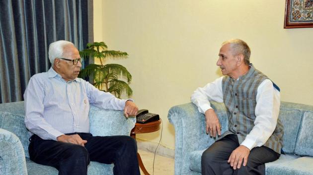 Dineshwar Sharma (right), the Centre's special representative for talks on Kashmir, calls J&K governor NN Vohra, New Delhi, October 29(PTI)