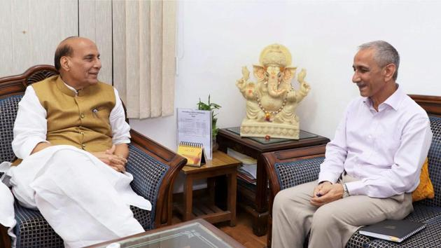 Dineshwar Sharma, former Director of Intelligence Bureau, seen here with Union Home Minister, Rajnath Singh, has been appointed to initiate and carry forward a dialogue with elected representatives, various organisations and concerned individuals in Jammu and Kashmir(PTI)