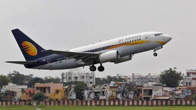 A Jet Airways passenger aircraft takes off from the airport in Ahmedabad.(Reuters file)