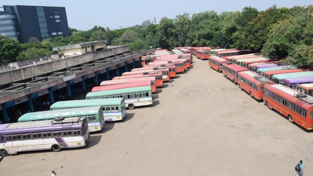 Buses parked at PCMC ST depot.(HT Photo)