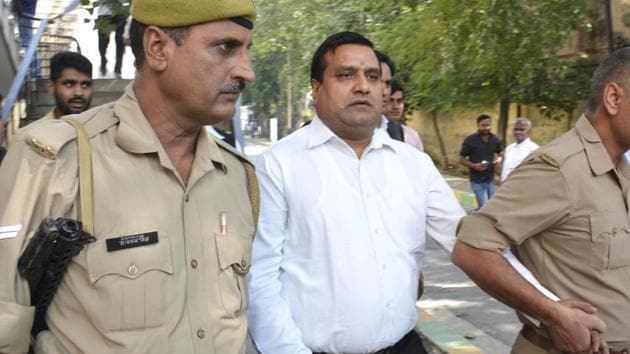 Former MLA Amarpal Sharma, an accused in the murder of BJP leader Gajendra Bhati, had surrendered before Ghaziabad court and was sent to Dasna jail.(Sakib Ali/HT Photo)