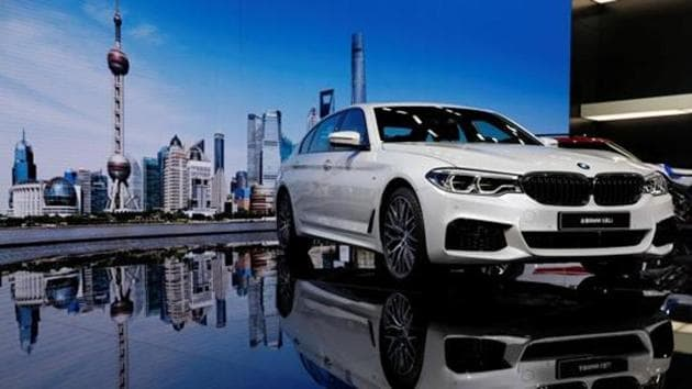 A BMW 5-Series Li car is displayed at the Shanghai Auto Show during its media day, in Shanghai on April 19.