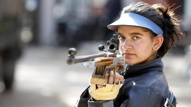Anjum Moudgil won a bronze medal in the women's 50m Rifle Prone.(HT Photo)