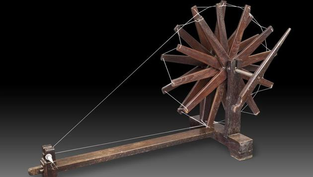 The wooden charkha, or spinning wheel, was one of the most powerful symbols of Mahatma Gandhi's philosophy and politics.(HT)