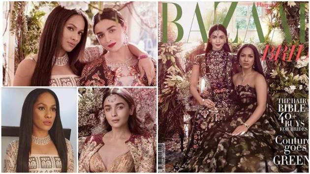 How stunning are friends, actor Alia Bhatt and designer Masaba Gupta, on the latest cover of fashion magazine, Harper's Bazaar Bride?(Instagram/ Alia Bhatt and Masaba Gupta)