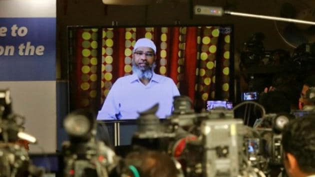 Zakir Naik, an Indian Islamic preacher and founder of Islamic Research Foundation, speaks to the media via a video conference in Mumbai, in July 2016.(Reuters File Photo)