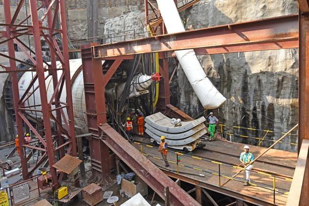 Metro-3 work underway at Mahim.(HT file)