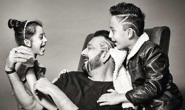Having missed most part of their childhood wonder years, Sanjay Dutt is bent on being a hands-on dad (Styling by Naveen Shetty, make-up by Deepak Bhatte and hair by Sharik Mohammad +)(Prabhat Shetty)