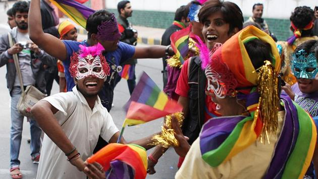 Participants celebrate during the Pride march in 2011. While the focus has been the repealing of Section 377, which criminalises same-sex unions and the demand for dignity for people who do not conform to society's ideas of sexual orientation or gender, different movements joined the parade in solidarity with the LGBTQ community. (Vipin Kumar / HT Photo)