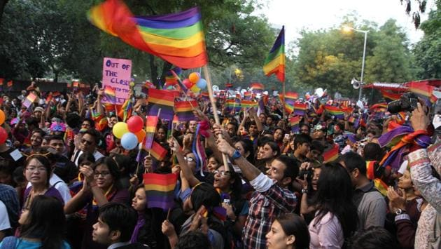 In 2010, scores of people walked along with rainbow flags in the heart of the national capital to make a united call for equality of gender and sexuality and seeking 'a life without fear'. (Sanjeev Verma / HT Photo)