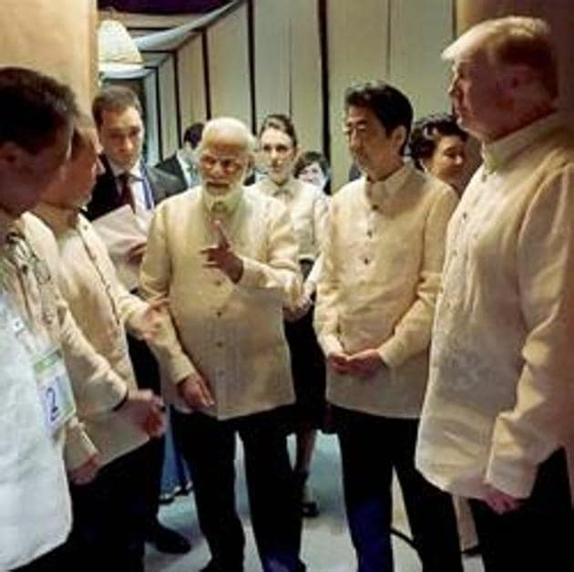 "Prime Minister Narendra Modi with US President Donald Trump, Japanese Prime Shinzo Abe and other world leaders at an ASEAN Summit dinner in Manila on Sunday. The caution displayed by India in going ahead with the quad in its reincarnated form is well grounded. India has not even christened it as a ""quad"" even though it is a four-country forum.(PTI)"