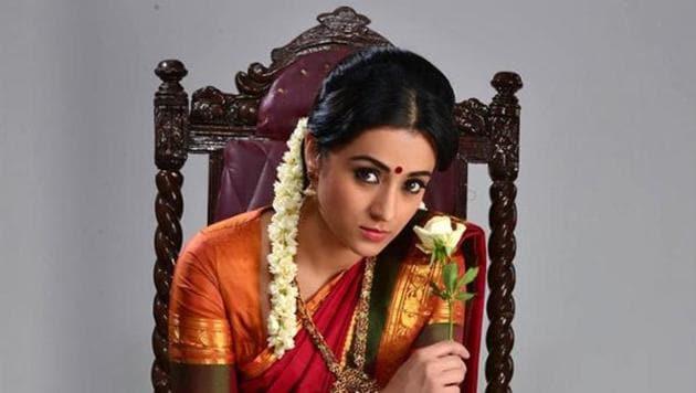 Trisha Krishnan in a still from her film Nayaki (2016).