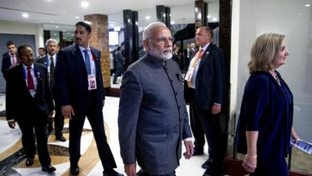 Prime Minister Narendra Modi arrives for a bilateral meeting with President Donald Trump during the ASEAN Summit at the Sofitel Philippine Plaza, on November 13, 2017, in Manila, Philippines.(AP Photo)