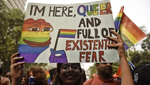 Delhi's 10th Queer Pride March from Barakhamba Road to Jantar Mantar in New Delhi on Sunday, November 12, 2017(Sanchit Khanna/HT PHOTO)