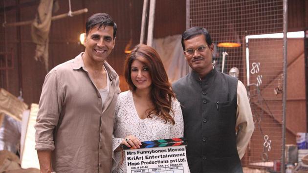 Twinkle Khanna and Akshay Kumar with Arunachalam Muruganantham on the sets of Padman.