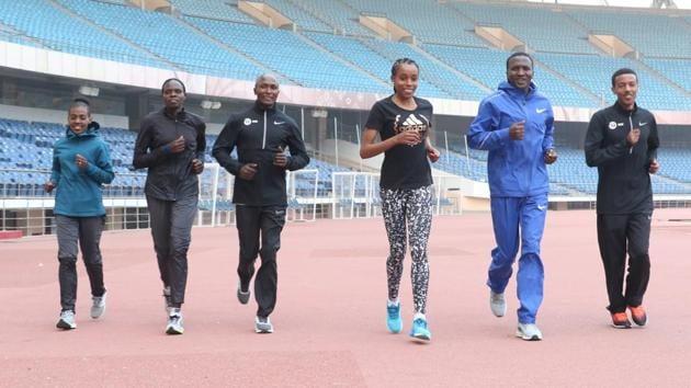 The international elite athletes train at the Jawaharlal Nehru Stadium in New Delhi on Thursday, ahead of the Delhi Half Marathon (ADHM) to be held in central Delhi on Sunday.(ADHM)