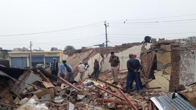 The impact of the blast could be gauged from the fact that Rajat's body was blown 50m away from the site, while iron shutter of the shop fell away at a distance of 100 m(HT Photo)