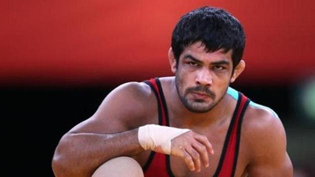Sushil Kumar won the gold medal at the men's 74kg freestyle competition in the National Wrestling Championship.(AFP)