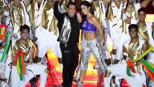 <p>Salman Khan and Katrina Kaif perform during the opening ceremony of the Indian Super League in Kochi on Friday.</p> (ISL / SPORTZPICS)