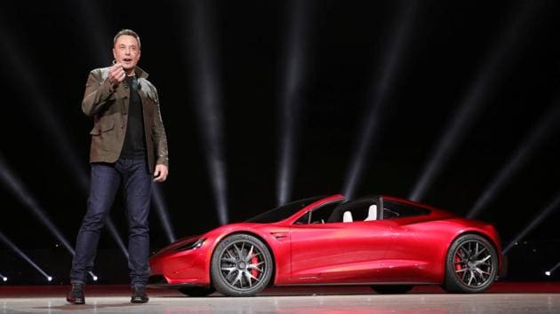 Tesla CEO Elon Musk unveils the Roadster 2 during a presentation in Hawthorne, California, on November 16, 2017.